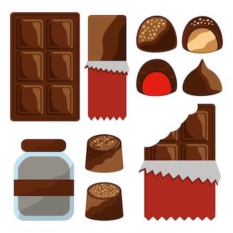Set van chocolade eten