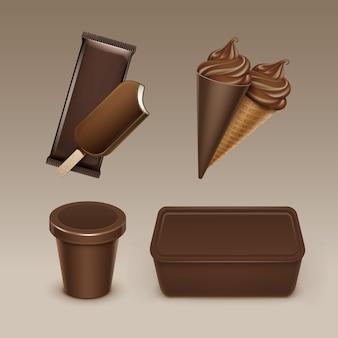 Set van chocolade ijslolly choc-ijs lollipop zacht serveren ijs wafel kegel met plastic bruine wrapper en doos container voor pakket close-up op achtergrond.