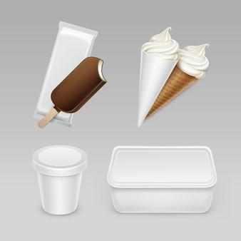 Set van chocolade ijslolly choc-ijs lollipop zacht serveren ijs wafel kegel met plastic witte wrapper en doos container voor pakket close-up op achtergrond.
