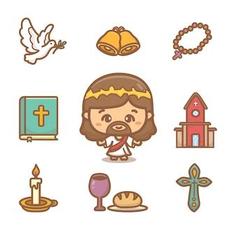 Set van christendom clipart. verschillende religieuze elementen en schattige stripfiguren van jezus