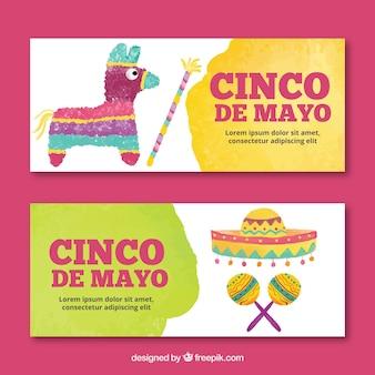 Set van cinco de mayo banners met traditionele elementen