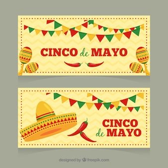 Set van cinco de mayo banners met traditionele mexicaanse elementen