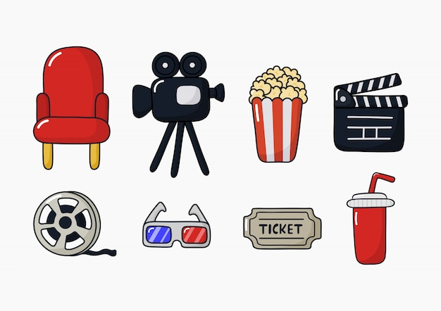 Set van cinema iconen tekenen en symbolen collectie voor websites geïsoleerd