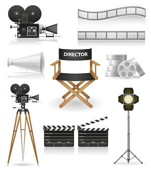 Set van cinematografie bioscoop en film vectorillustratie