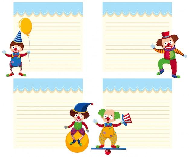Set van circus notitie sjabloon