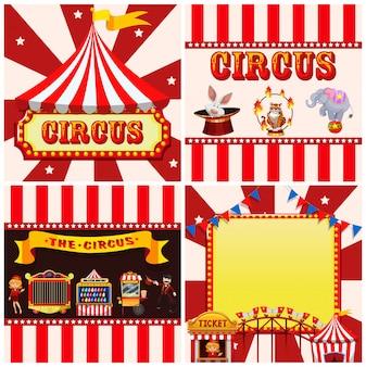 Set van circus sjabloon