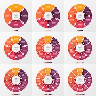Set van cirkel grafiek infographic sjabloon met 4-12 opties
