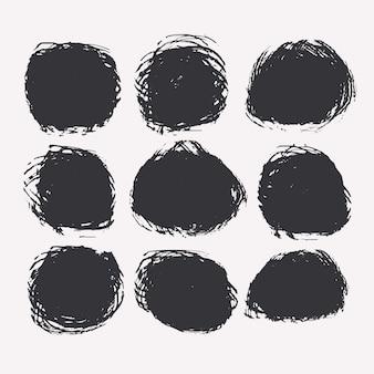 Set van cirkelvormige grunge of verf vlekken