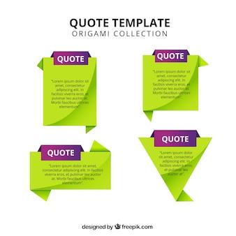 Set van citaat templates in groen en paars
