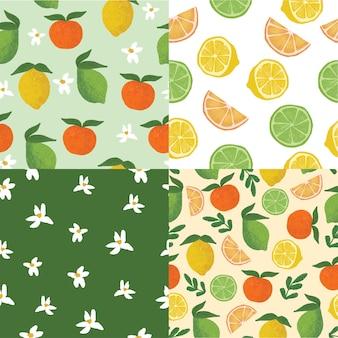 Set van citroen limoen en sinaasappel naadloze illustratie patroon