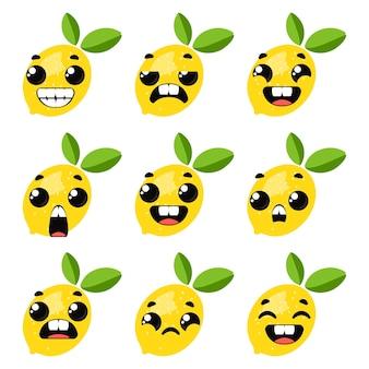 Set van citroenen met emoties. grappige clipart voor kinderen. vectorillustratie in cartoon-stijl.