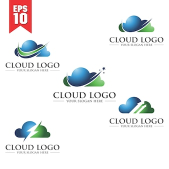 Set van cloud-logo