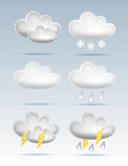 Set van cloud pictogrammen in cartoon stijl op blauwe achtergrond. cloud-symbool voor uw website-ontwerp, logo, app, gebruikersinterface. vectorillustratie, eps10.