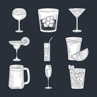 Set van cocktails, bier, wijn en alcohol drinken, dunne lijn stijliconen