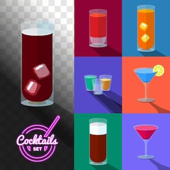 Set van cocktails in transparante glazen