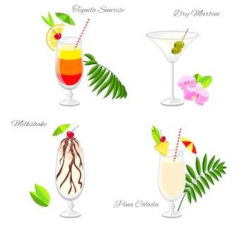 Set van cocktails op het strand