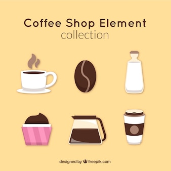 Set van coffeeshop accessoires