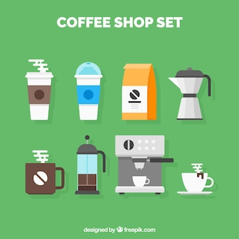 Set van coffeeshop gebruiksvoorwerpen
