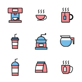 Set van coffeeshop pictogrammen