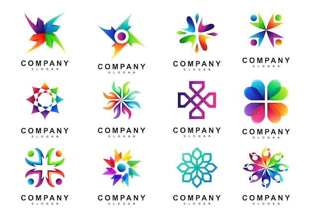 Set van coloful abstracte cirkel logo Premium Vector