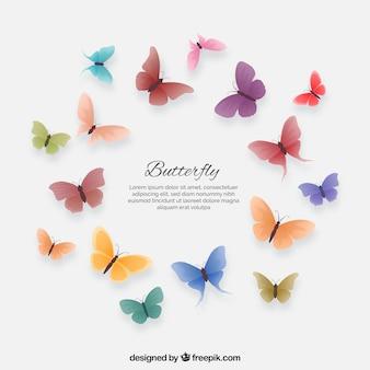 Set van coloredbutterflies