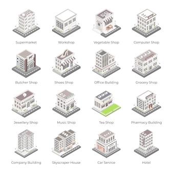 Set van commerciële architecturen isometrische pictogrammen