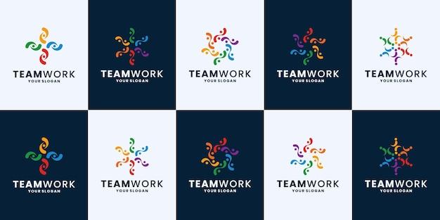 Set van community, teamwerk logo-ontwerpinspiratie