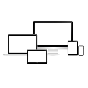 Set van computer dekstop tablet smartphone