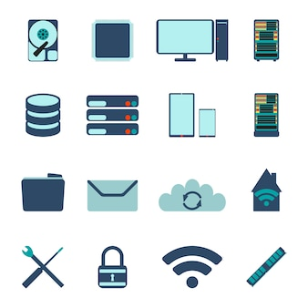 Set van computer- en database-iconen. platte vectorillustratie