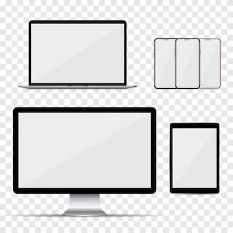 Set van computermonitor, laptop, smartphone en tablet met leeg scherm