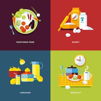 Set van concept iconen voor eten en drinken. pictogrammen voor vegetarische gerechten, bakkerij, limonade en ontbijtsamenstellingen.