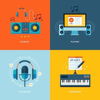 Set van concept iconen voor muziekindustrie. pictogrammen voor dj-muziek, spelen, muziekopname, piano componeren.