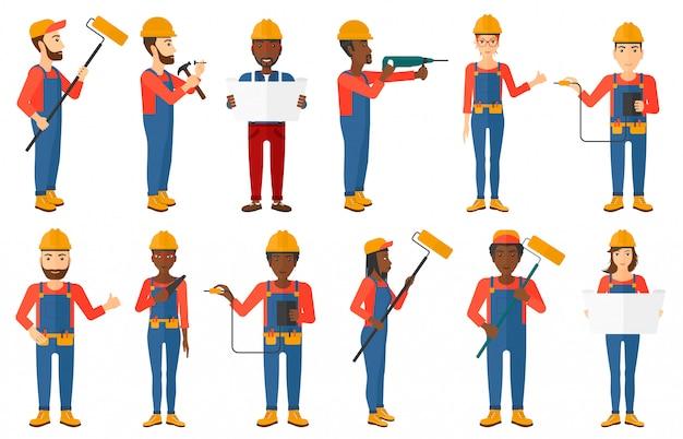 Set van constructeurs en bouwers karakters