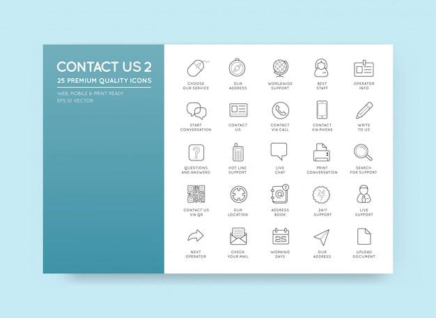 Set van contact service-pictogrammen hulp ondersteuning