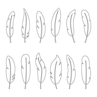 Set van contouren van veren, vectorillustratie