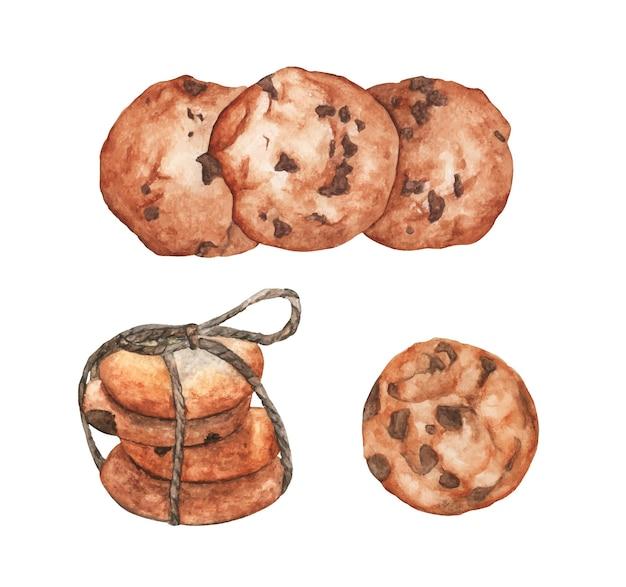 Set van cookies met chocolade. aquarel illustratie.
