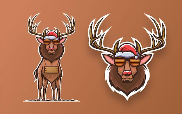 Set van cool herten mascotte illustratie