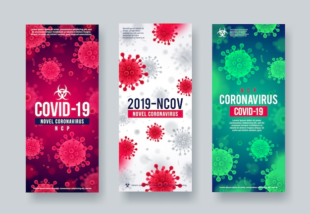 Set van coronavirus achtergrond. nieuwe coronavirus 2019-ncov-banners. concept van gevaarlijke covid-19 pandemische poster.