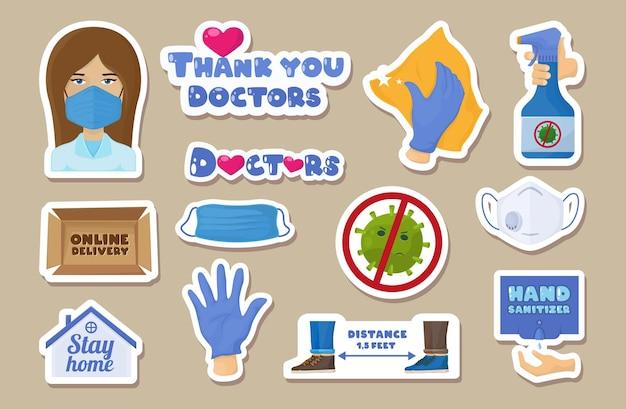 Set van coronavirus-sticker. covid-pleister.