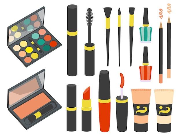 Set van cosmetica pictogrammen in vlakke stijl. vector illustratie. geïsoleerd op wit.