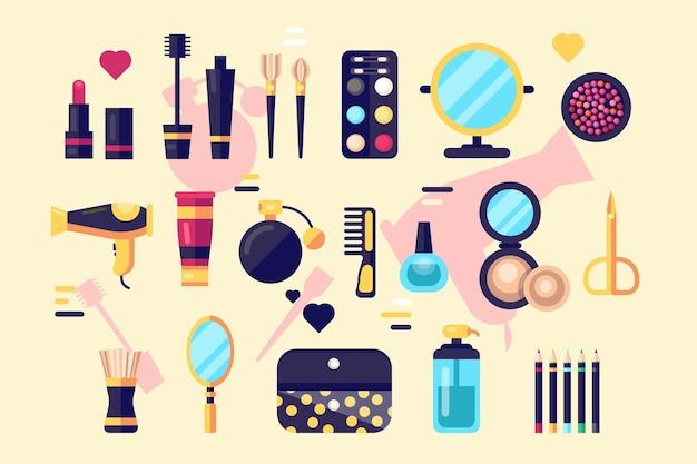 Set van cosmetica schoonheid en make-up iconen