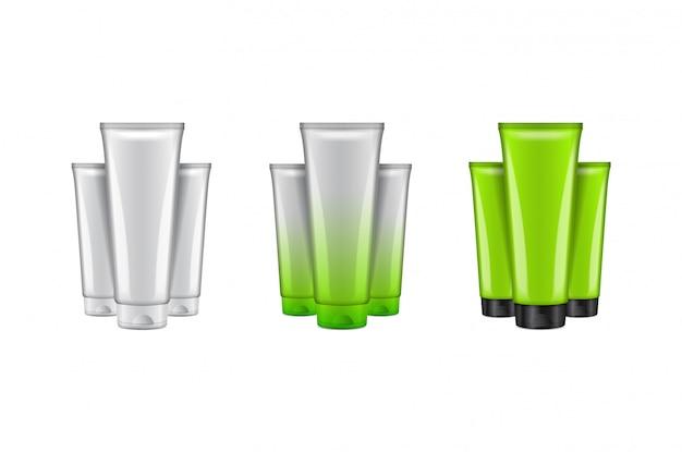 Set van cosmetische fles realistisch. schoonheidsmerk sjabloonpakket. illustratie