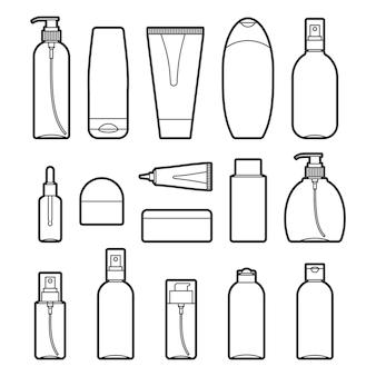 Set van cosmetische flessen lijn stijl iconen op wit. verzameling van verschillende vormen en typen