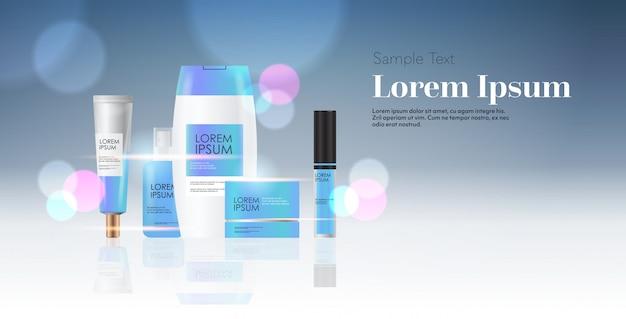 Set van cosmetische of parfum containers flessen gezicht schoonheid spa producten natuurlijke cosmetologie huidverzorging verpakking branding huid behandeling concept horizontale kopie ruimte