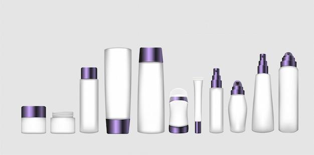 Set van cosmetische verpakkingen met paarse doppen. cosmetische verpakking voor crème, shampoo, vloeibare zeep, spray, serum, transpiratiewerend middel, conditioner, balsem, masker en andere verpakkingen.