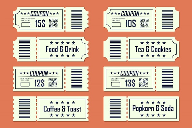 Set van coupons ticket kaart voor- en achterkant in een plat ontwerp. eten en drinken, koffie en toast, thee en koekjes, popkorn en frisdrank