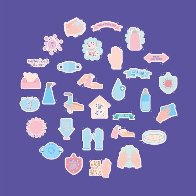 Set van covid19 pandemische stickers vector illustratie ontwerp