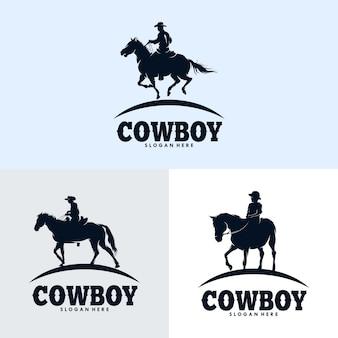 Set van cowboys paardrijden paard silhouet logo