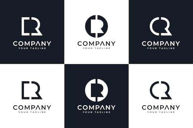 Set van creatief letter cr logo-ontwerp voor alle toepassingen