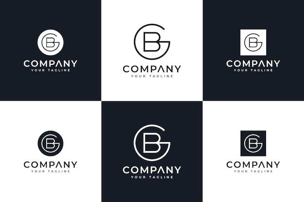 Set van creatief letter gb logo-ontwerp voor alle toepassingen